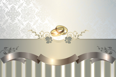 gold rings: Decorative background with white gold rings and floral patterns for the design of wedding invitation card. Stock Photo