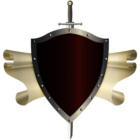 riveted: Ancient riveted shield with sword and scroll of parchment on white background.