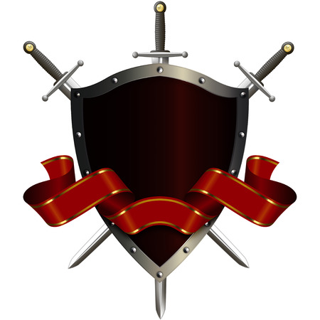 Ancient riveted shield with swords and red ribbon on white background. photo