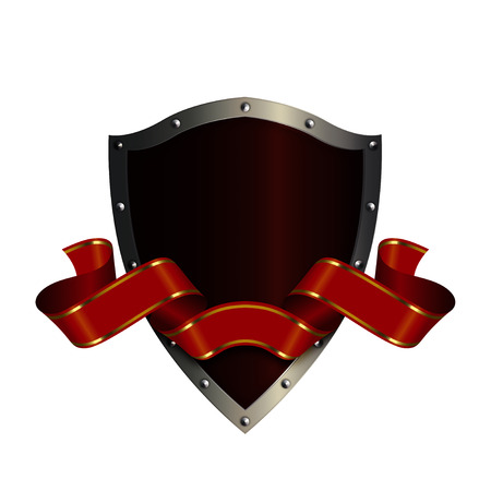 riveted: Ancient riveted shield and red ribbon on white background. Stock Photo