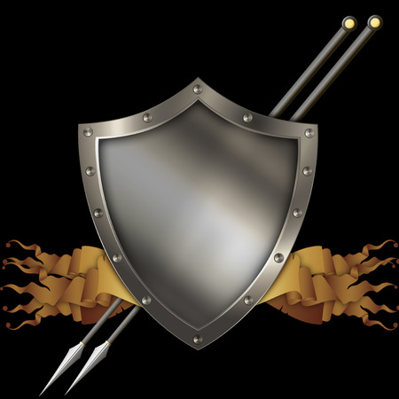 medieval shield: Medieval shield with scrolls of parchment and two spears on black background. Stock Photo