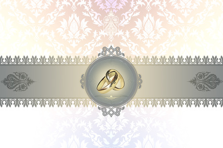 gold rings: Decorative background with gold rings and frame for the design of wedding invitation card.