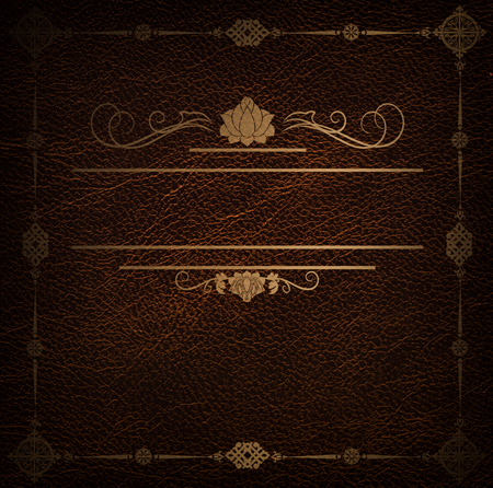 your text: Natural leather background with decorative golden border and frame for your text.