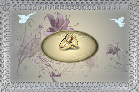 gold rings: Template of wedding invitation card. Elegant background with decorative border and gold rings. Stock Photo