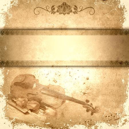 fiddlestick: Papel de Grunge con viol�n, fiddlestick, rosas y banner para el texto. Foto de archivo