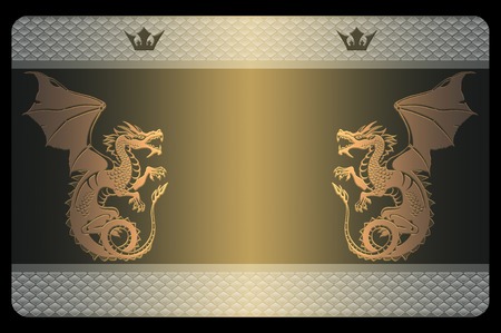 snake skin: Template of business card with gold dragons and abstract snake skin patterns.