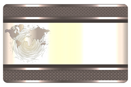 metal mesh: Template of business card with decorative metal mesh border and world map.