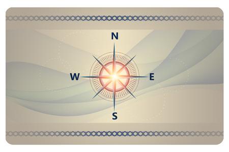 rosa vientos: Fondo futurista con rosa de los vientos y las olas abstractas para el dise�o de tarjeta de visita.