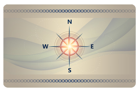 wind rose: Futuristic background with wind rose and abstract waves for the design of business card.