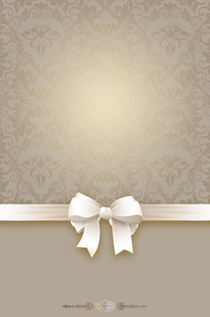 Decorative background with white bow and vintage european patterns. photo