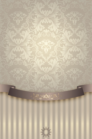 Decorative background with ribbon and vintage european patterns.Background for the design of your text. photo