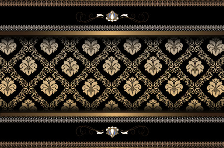Decorative background with gold pattern and ornament.