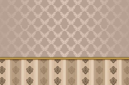 coverage: Vintage background with decorative european patterns and gold border.