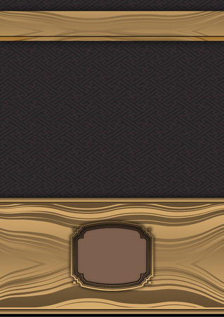 Decorative background with gold frame and vintage ornament. photo