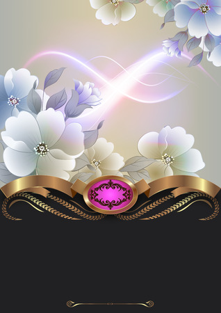 Decoraive floral background with golden ribbon and copy space for text. photo