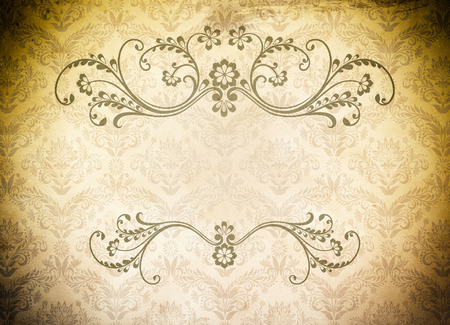 Old grunge paper background with old-fashioned patterns and copy space for your text. photo