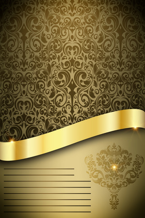 Gold vintage background with old-fashioned ornament and gold ribbon. photo