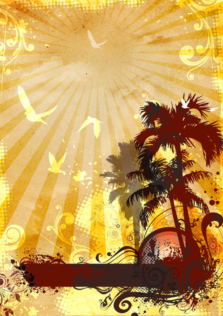 Vintage summer background with palm trees,sun,sky,birds and abstract patterns. Stock Photo