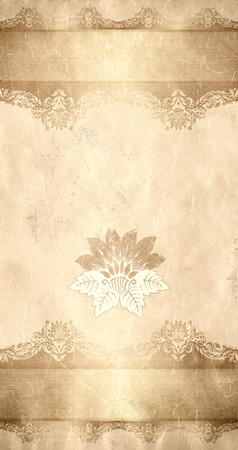 Grunge paper with vintage floral patterns and copy space for text. photo