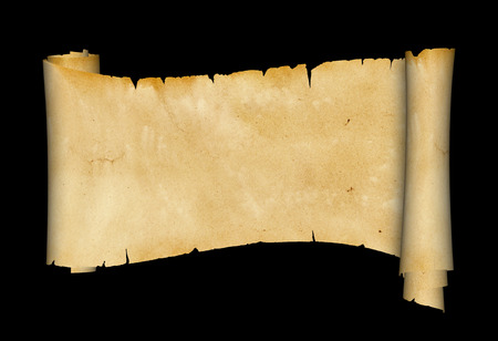 Ancient scroll of parchment on black background. 写真素材