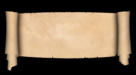 medieval scroll: Medieval scroll of parchment on black background. Stock Photo