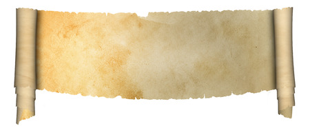 medieval scroll: Medieval scroll of parchment on white background.