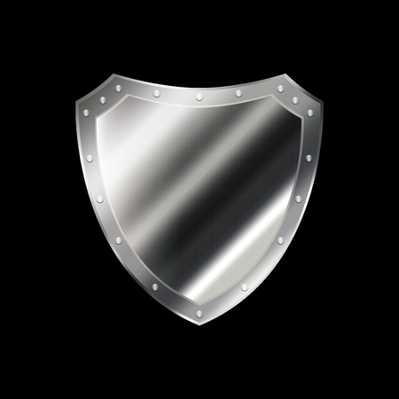 riveted: Riveted silver shield on black background.