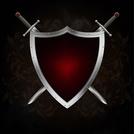 riveted: Medieval riveted shield with two swords on dark grunge background.
