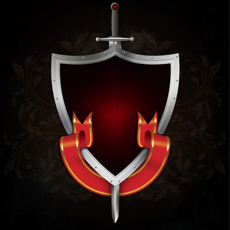 riveted: Medieval riveted shield with sword and red ribbon on dark grunge background. Stock Photo