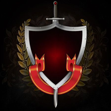 Medieval riveted shield with sword,gold laurel branch and red ribbon on dark grunge background.