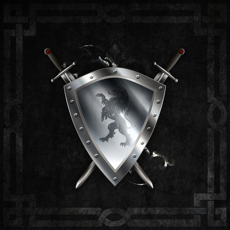 Medieval silver riveted shield with image of heraldic lion and two swords on dark grunge background.