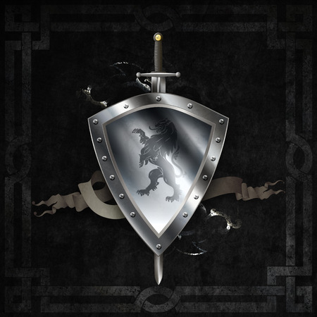 Medieval silver riveted shield with image of heraldic lion and scroll, sword on dark grunge background. photo