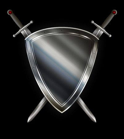Medieval silver shield with riveted border and two swords on black background. Stock Photo
