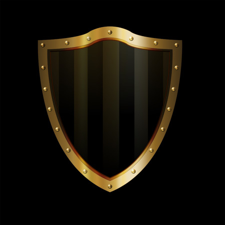 riveted: Ancient gold shield with riveted border on black background. Stock Photo