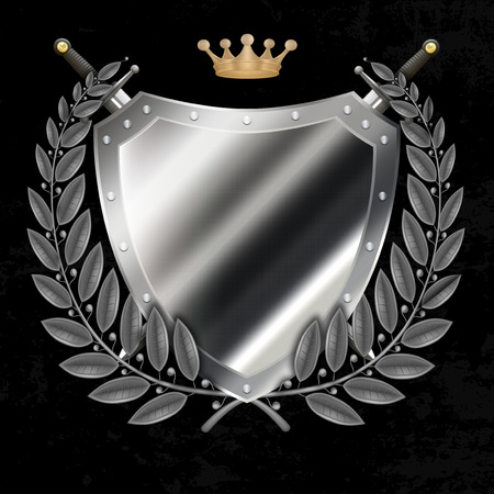 Riveted silver shield with laurel branchs and gold crown and swords on grunge black background. photo