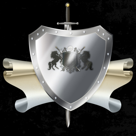 riveted: Riveted silver shield with laurel branchs and heraldic horse and sword on grunge black background.