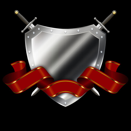 riveted: Riveted silver shield with red ribbon and swords on black background. Stock Photo