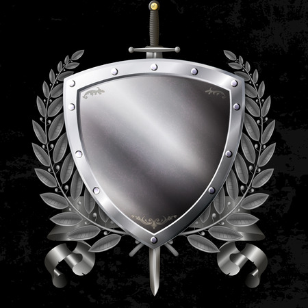 riveted: Ancient riveted shield with sword and ribbon and laurel branch on black grunge background.