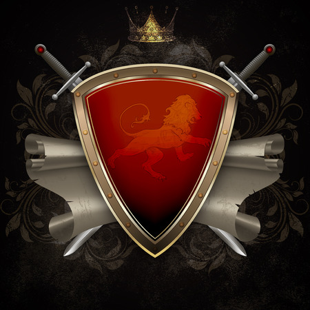 Medieval shield with two swords and scroll of parchment on dark grunge background. photo
