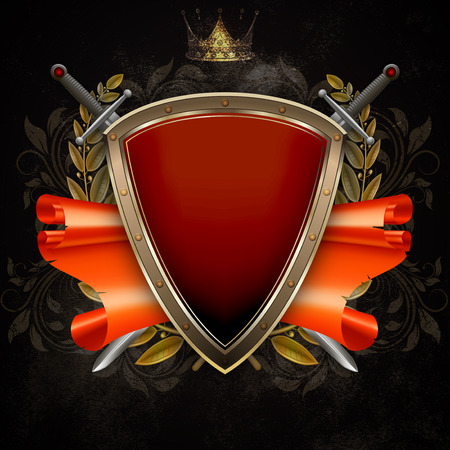 laurel branch: Medieval shield with two swords and scroll of parchment and gold laurel branch on dark grunge background.