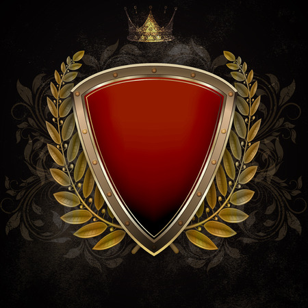 laurel branch: Medieval shield with gold laurel branch and old gold crown on dark grunge background. Stock Photo