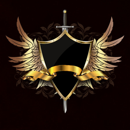 Medieval shield with gold wings, gold ribbon and sword on dark grunge background with patterns.