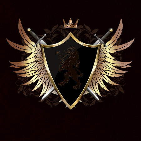 Medieval shield with heraldic lion, gold wings and two swords on dark grunge background with patterns.