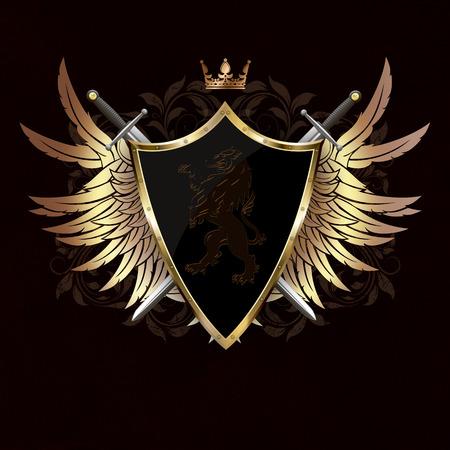 Escudo medieval con el león heráldico, alas de oro y dos espadas en el fondo oscuro del grunge con los modelos. Foto de archivo - 37894614