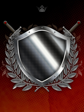 laurel branch: Medieval silver shield with two swords and silver laurel branch on dark grunge background. Stock Photo