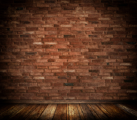 Bricks wall and old wooden floor background. photo