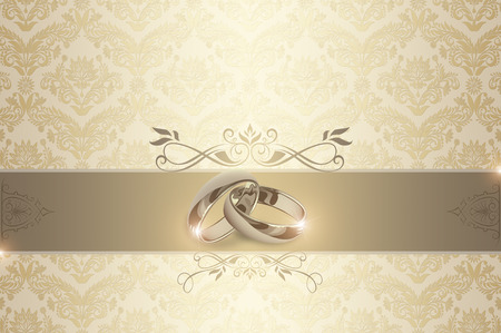 Decorative wedding background with gold rings and floral european patterns.