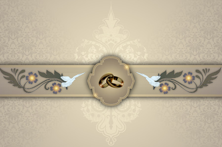 gold rings: Decorative background with european patterns,gold rings,white doves and copy space for the text. Stock Photo
