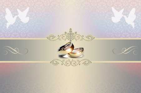 gold rings: Template of wedding invitation card with gold rings and white doves. Stock Photo