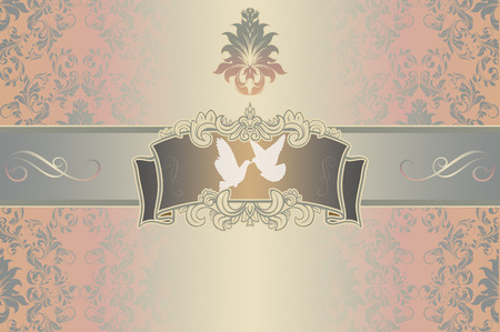 Elegant background with decorative floral ornament,patterns and white doves for the design of wedding invitation card.
